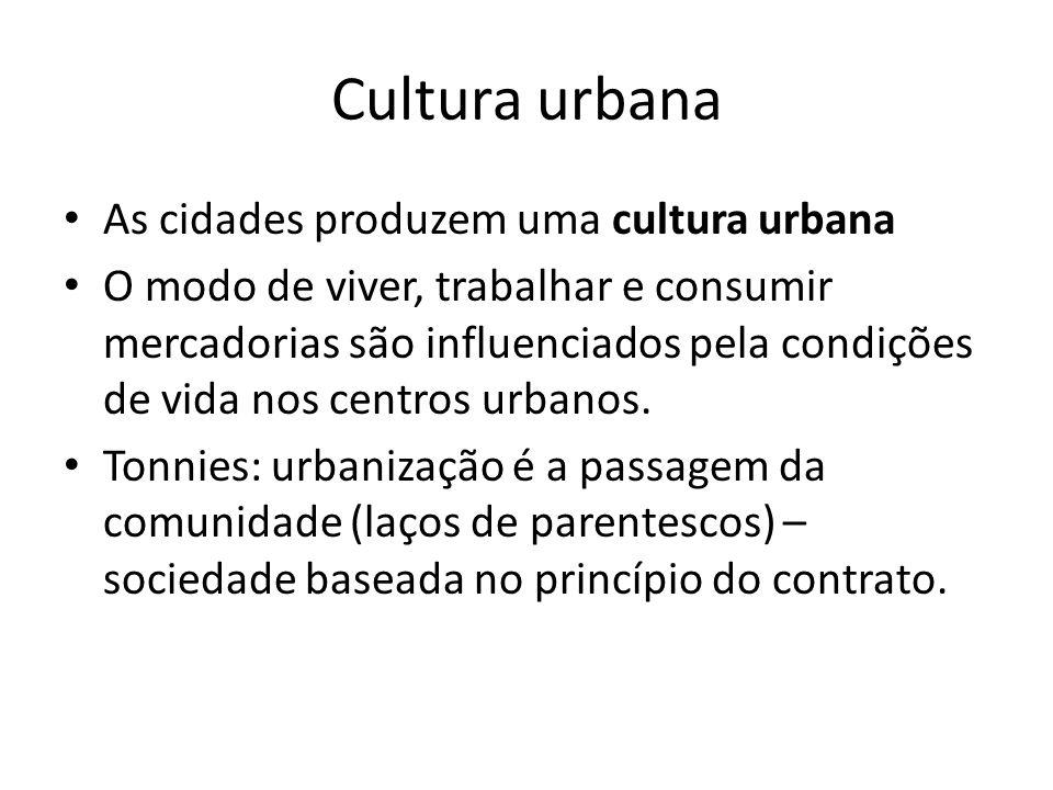 Cultura urbana As cidades produzem uma cultura urbana O modo de viver, trabalhar e consumir mercadorias são influenciados pela condições de vida nos centros urbanos.