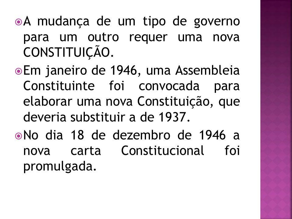 A mudança de um tipo de governo para um outro requer uma nova CONSTITUIÇÃO. Em janeiro de 1946, uma Assembleia Constituinte foi convocada para elabora