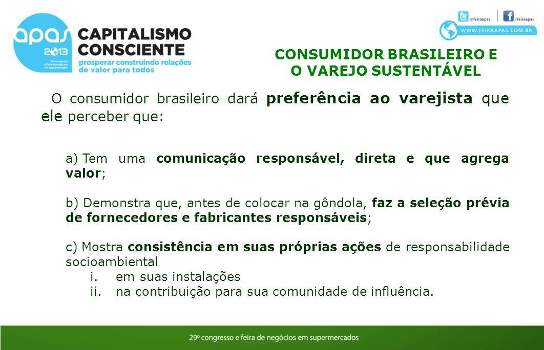 O consumidor brasileiro dará preferência ao varejista que ele perceber que: a) Tem uma comunicação responsável, direta e que agrega valor; b) Demonstr