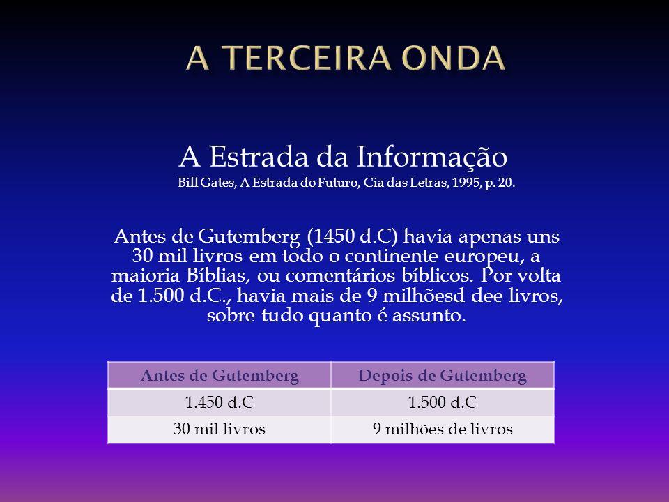 Antes de Gutemberg (1450 d.C) havia apenas uns 30 mil livros em todo o continente europeu, a maioria Bíblias, ou comentários bíblicos. Por volta de 1.