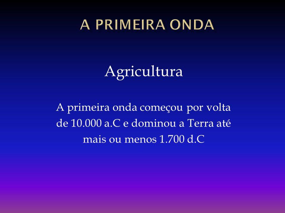 Agricultura A primeira onda começou por volta de 10.000 a.C e dominou a Terra até mais ou menos 1.700 d.C