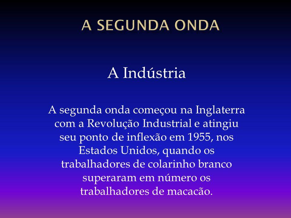 A Indústria A segunda onda começou na Inglaterra com a Revolução Industrial e atingiu seu ponto de inflexão em 1955, nos Estados Unidos, quando os tra