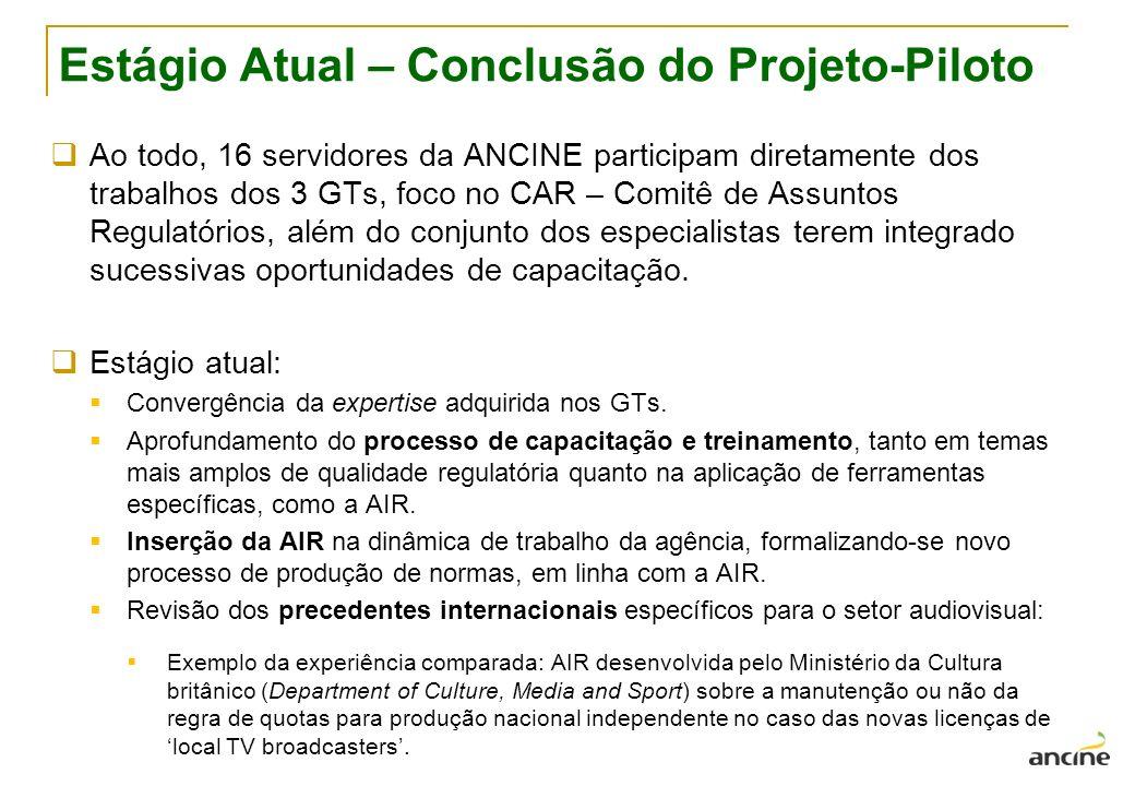 Estágio Atual – Conclusão do Projeto-Piloto Ao todo, 16 servidores da ANCINE participam diretamente dos trabalhos dos 3 GTs, foco no CAR – Comitê de Assuntos Regulatórios, além do conjunto dos especialistas terem integrado sucessivas oportunidades de capacitação.
