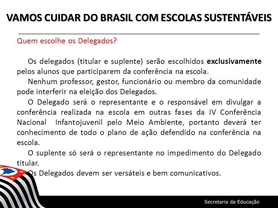 VAMOS CUIDAR DO BRASIL COM ESCOLAS SUSTENTÁVEIS Quem escolhe os Delegados? Os delegados (titular e suplente) serão escolhidos exclusivamente pelos alu