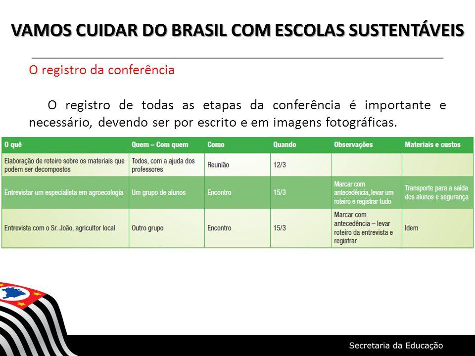 VAMOS CUIDAR DO BRASIL COM ESCOLAS SUSTENTÁVEIS O registro da conferência O registro de todas as etapas da conferência é importante e necessário, deve