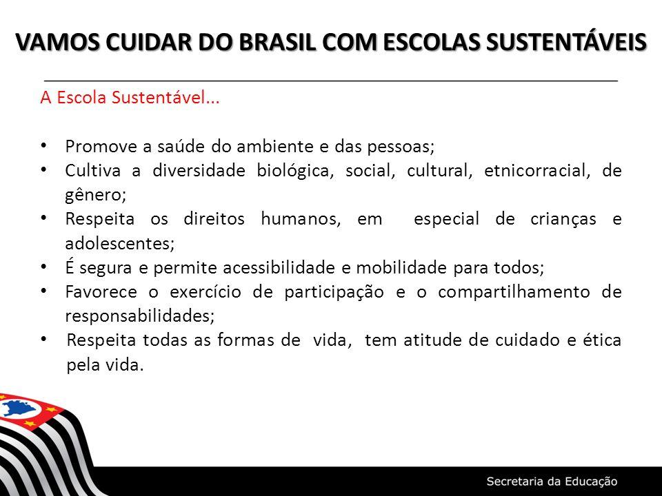 VAMOS CUIDAR DO BRASIL COM ESCOLAS SUSTENTÁVEIS A Escola Sustentável... Promove a saúde do ambiente e das pessoas; Cultiva a diversidade biológica, so