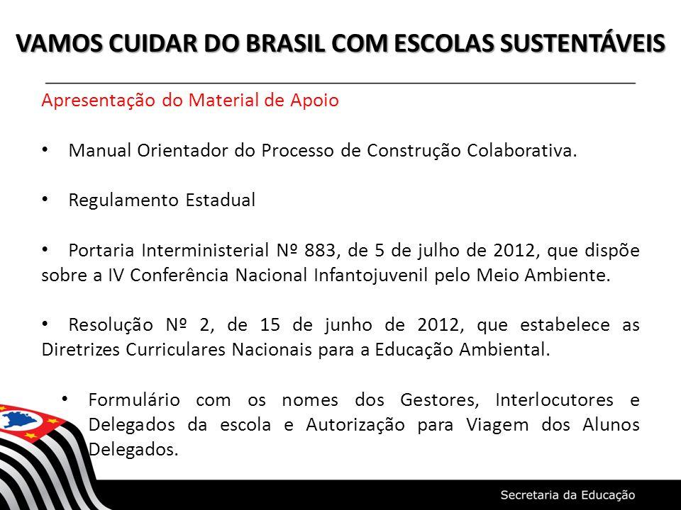 VAMOS CUIDAR DO BRASIL COM ESCOLAS SUSTENTÁVEIS Apresentação do Material de Apoio Manual Orientador do Processo de Construção Colaborativa. Regulament