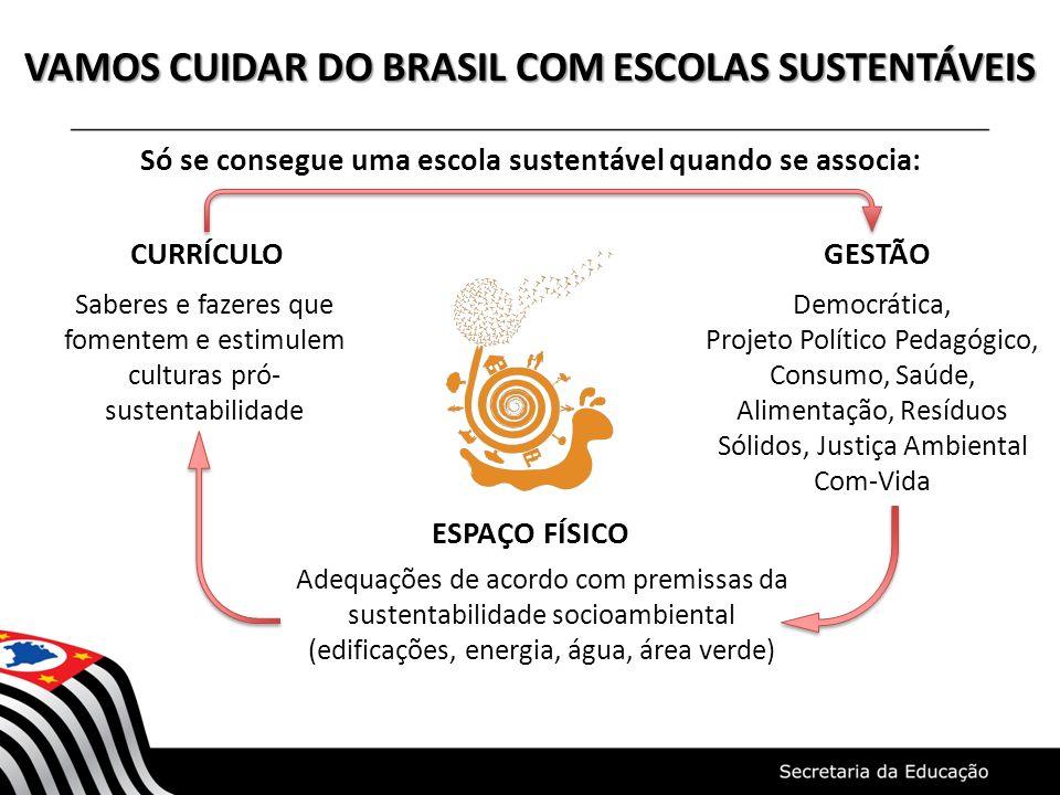 VAMOS CUIDAR DO BRASIL COM ESCOLAS SUSTENTÁVEIS Só se consegue uma escola sustentável quando se associa: CURRÍCULO GESTÃO ESPAÇO FÍSICO Saberes e faze