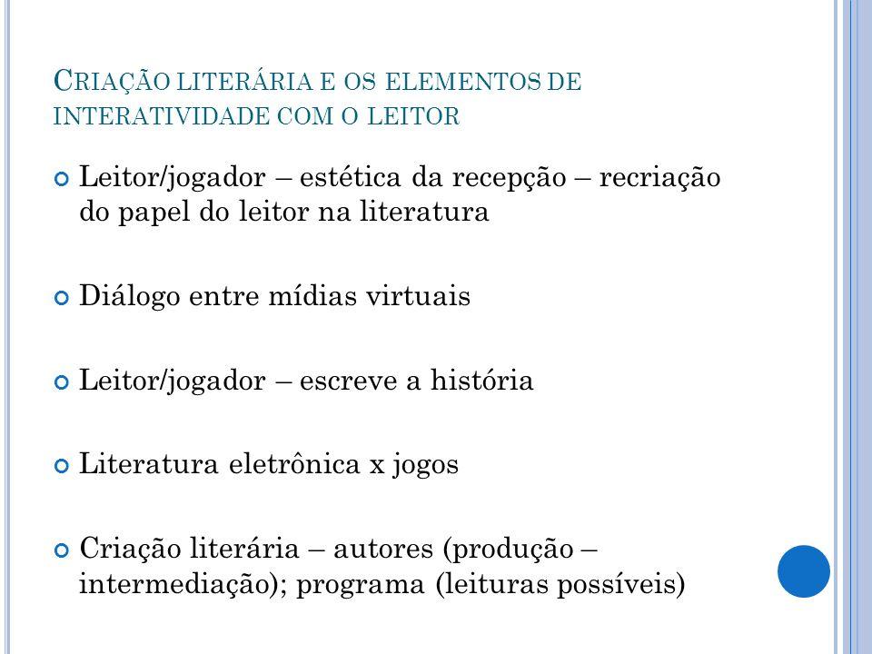 C RIAÇÃO LITERÁRIA E OS ELEMENTOS DE INTERATIVIDADE COM O LEITOR Leitor/jogador – estética da recepção – recriação do papel do leitor na literatura Di