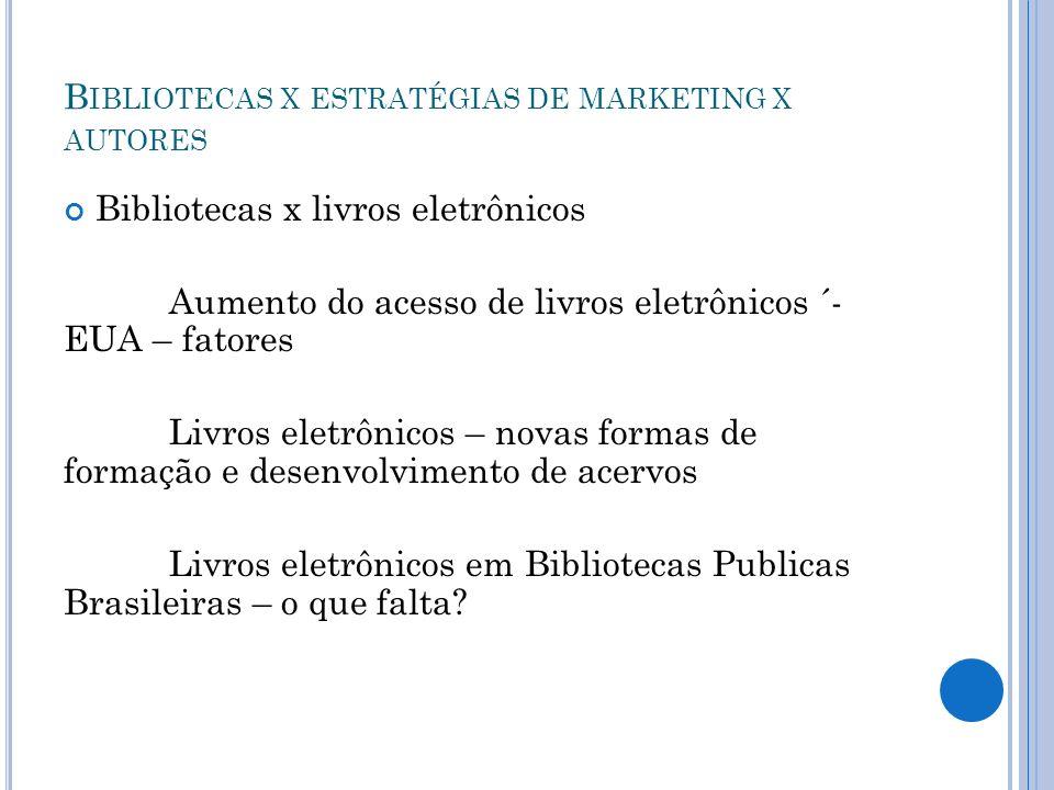 B IBLIOTECAS X ESTRATÉGIAS DE MARKETING X AUTORES Bibliotecas x livros eletrônicos Aumento do acesso de livros eletrônicos ´- EUA – fatores Livros ele