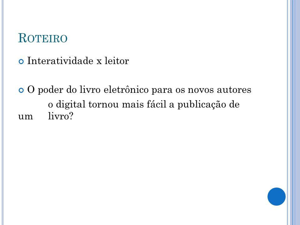 B IBLIOTECAS X ESTRATÉGIAS DE MARKETING X AUTORES Bibliotecas x livros eletrônicos Aumento do acesso de livros eletrônicos ´- EUA – fatores Livros eletrônicos – novas formas de formação e desenvolvimento de acervos Livros eletrônicos em Bibliotecas Publicas Brasileiras – o que falta?