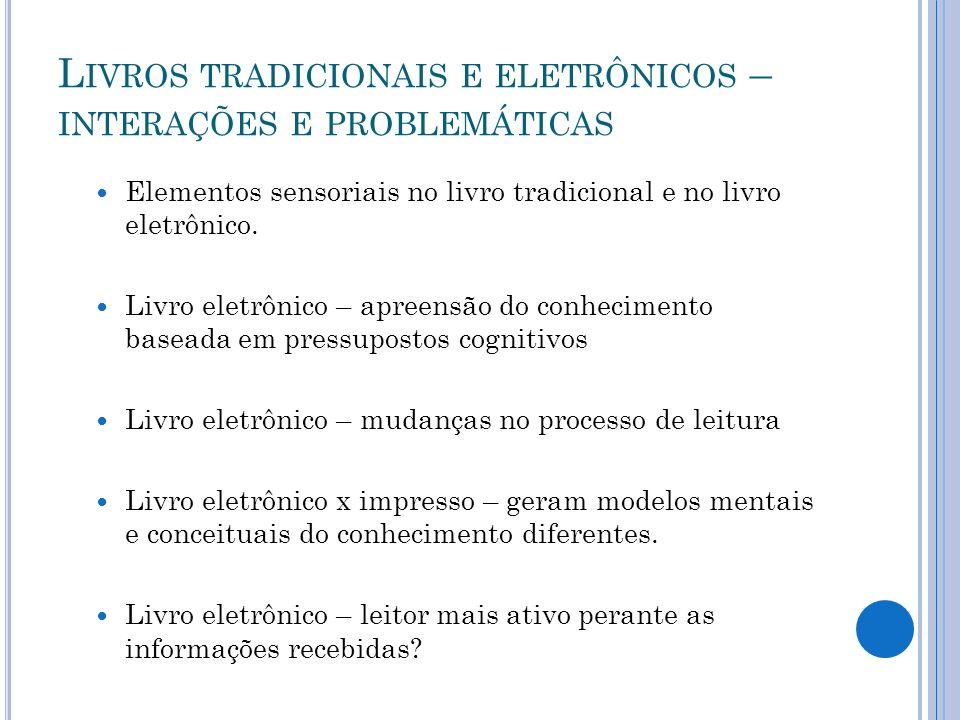 L IVROS TRADICIONAIS E ELETRÔNICOS – INTERAÇÕES E PROBLEMÁTICAS Elementos sensoriais no livro tradicional e no livro eletrônico. Livro eletrônico – ap