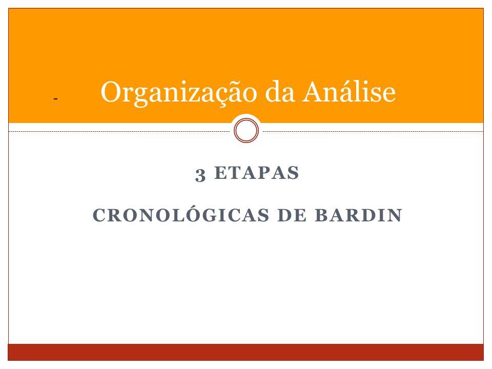 - 3 ETAPAS CRONOLÓGICAS DE BARDIN Organização da Análise