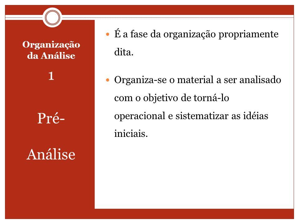 Organização da Análise 1 Pré- Análise É a fase da organização propriamente dita. Organiza-se o material a ser analisado com o objetivo de torná-lo ope
