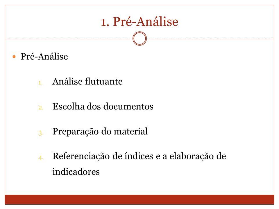 1. Pré-Análise Pré-Análise 1. Análise flutuante 2. Escolha dos documentos 3. Preparação do material 4. Referenciação de índices e a elaboração de indi
