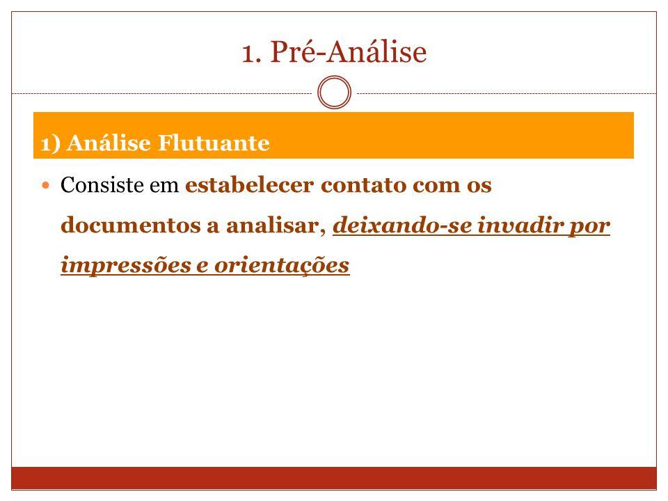 1. Pré-Análise 1) Análise Flutuante Consiste em estabelecer contato com os documentos a analisar, deixando-se invadir por impressões e orientações