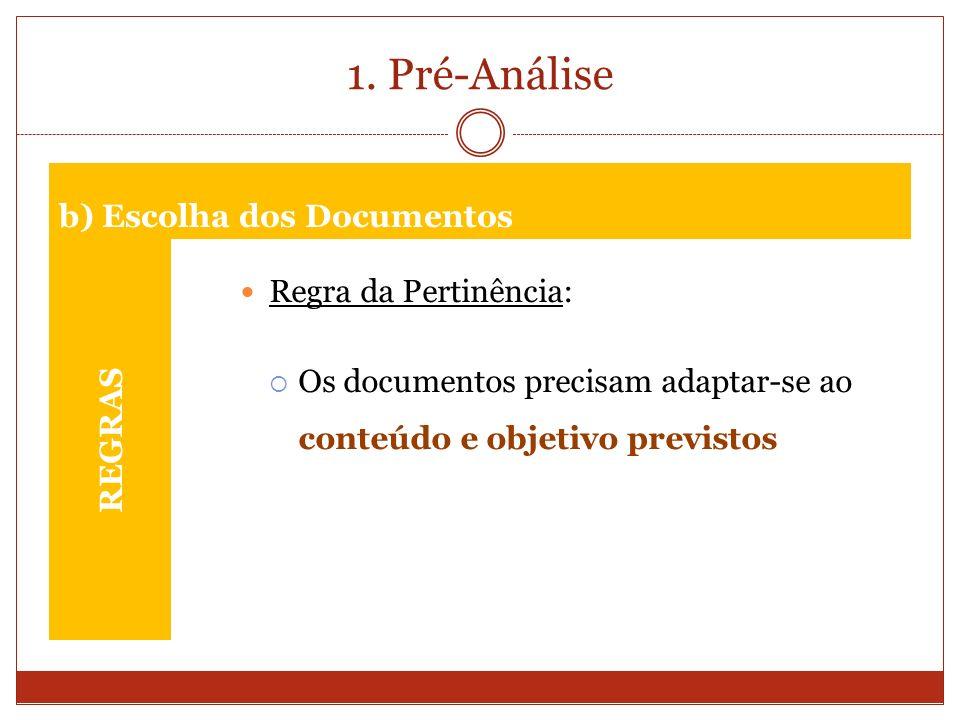 1. Pré-Análise REGRAS Regra da Pertinência: Os documentos precisam adaptar-se ao conteúdo e objetivo previstos b) Escolha dos Documentos