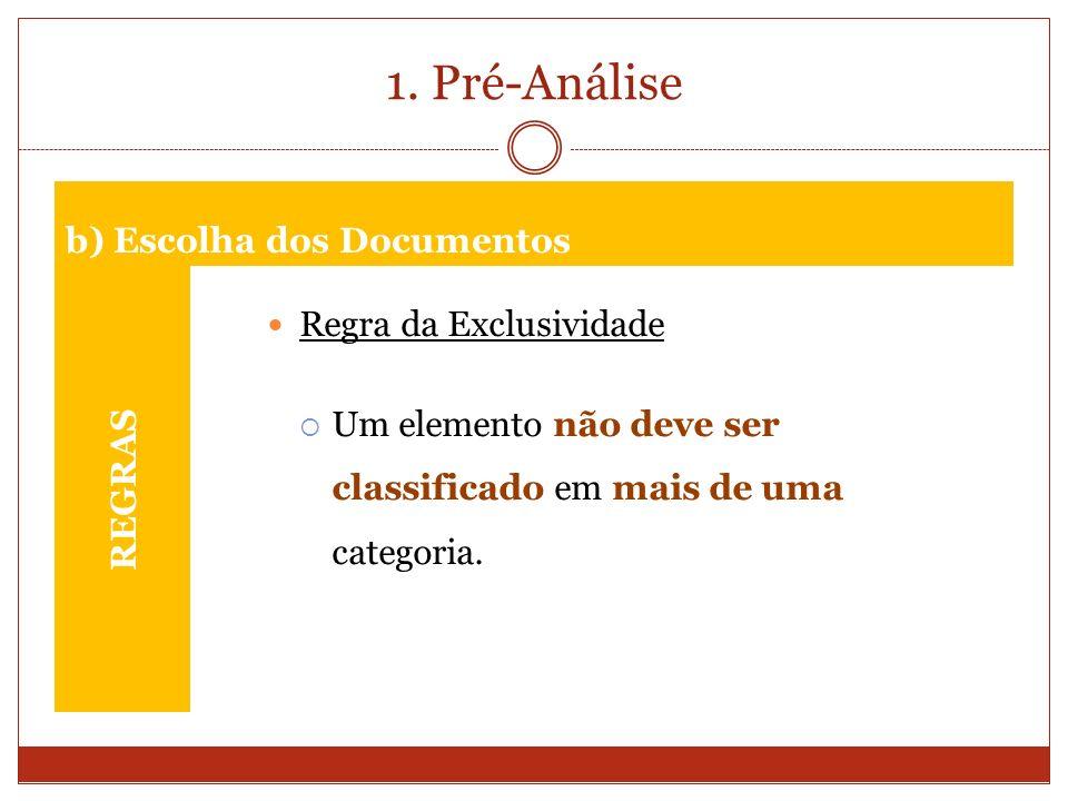 1. Pré-Análise REGRAS Regra da Exclusividade Um elemento não deve ser classificado em mais de uma categoria. b) Escolha dos Documentos