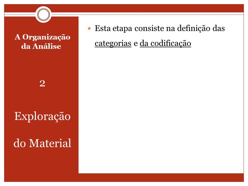 A Organização da Análise 2 Exploração do Material Esta etapa consiste na definição das categorias e da codificação