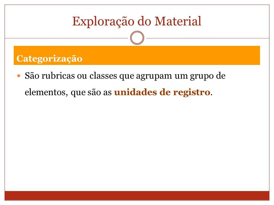 Exploração do Material Categorização São rubricas ou classes que agrupam um grupo de elementos, que são as unidades de registro.
