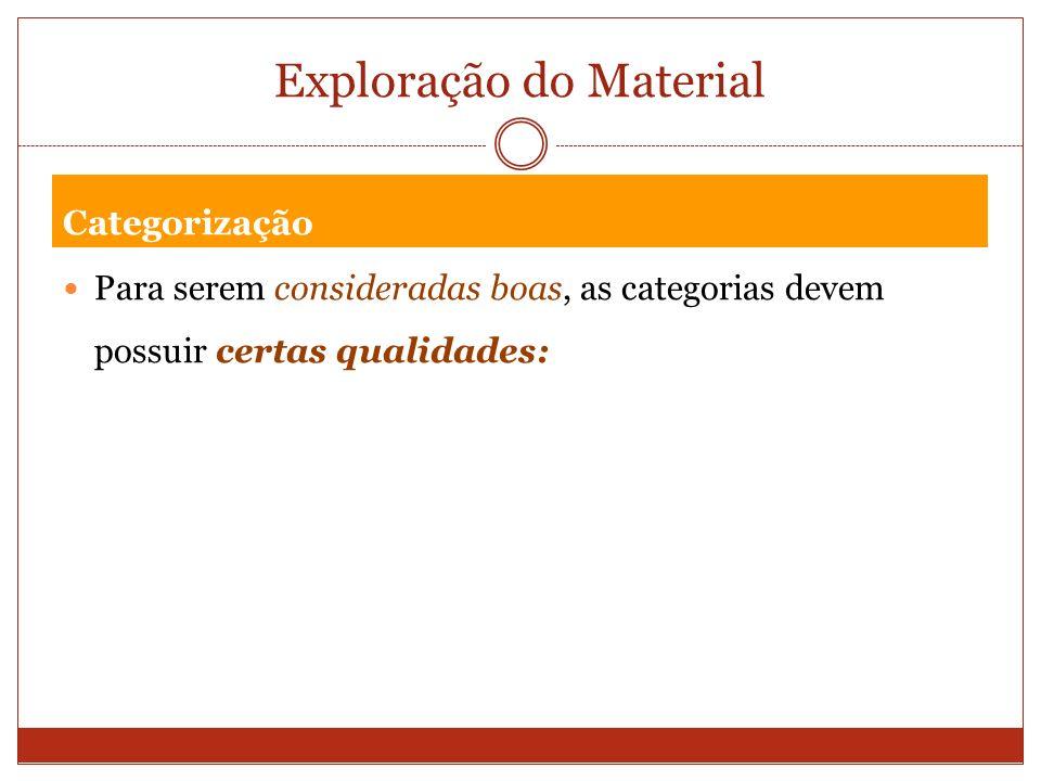 Exploração do Material Categorização Para serem consideradas boas, as categorias devem possuir certas qualidades: