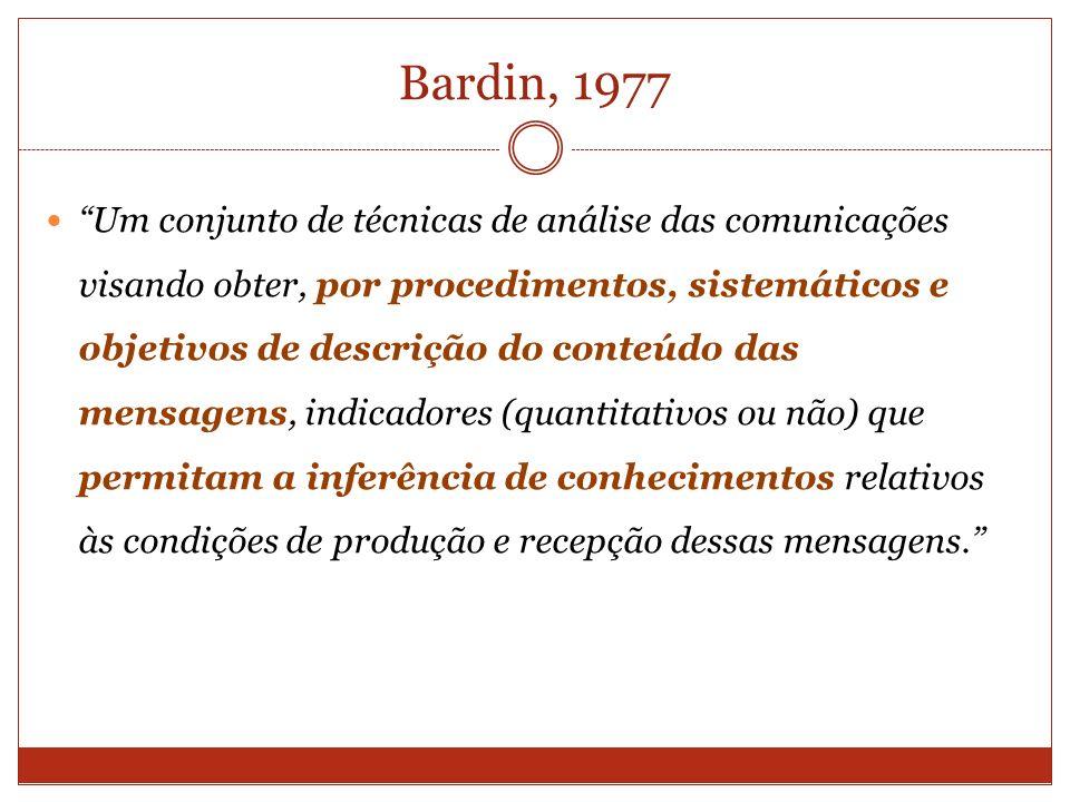 Bardin, 1977 Um conjunto de técnicas de análise das comunicações visando obter, por procedimentos, sistemáticos e objetivos de descrição do conteúdo d