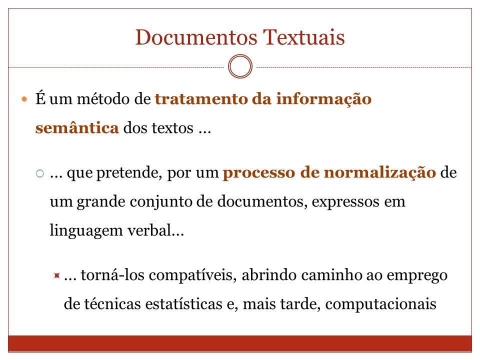 Documentos Textuais É um método de tratamento da informação semântica dos textos...... que pretende, por um processo de normalização de um grande conj