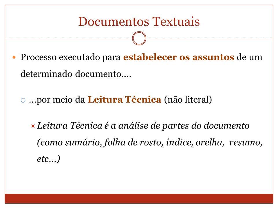 Documentos Textuais Processo executado para estabelecer os assuntos de um determinado documento.......por meio da Leitura Técnica (não literal) Leitur