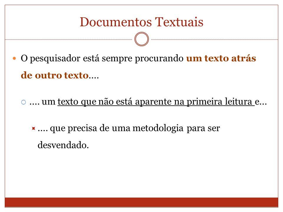 Documentos Textuais O pesquisador está sempre procurando um texto atrás de outro texto........ um texto que não está aparente na primeira leitura e...