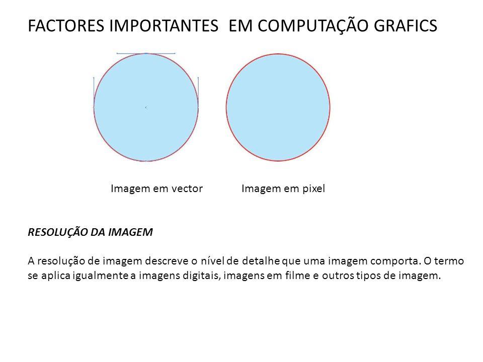 FACTORES IMPORTANTES EM COMPUTAÇÃO GRAFICS Imagem em vector Imagem em pixel RESOLUÇÃO DA IMAGEM A resolução de imagem descreve o nível de detalhe que