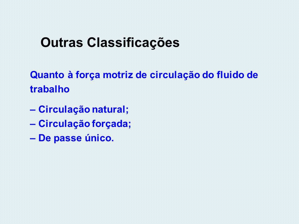 Outras Classificações Quanto à força motriz de circulação do fluido de trabalho – Circulação natural; – Circulação forçada; – De passe único.