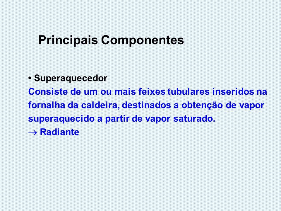 Principais Componentes Superaquecedor Consiste de um ou mais feixes tubulares inseridos na fornalha da caldeira, destinados a obtenção de vapor supera