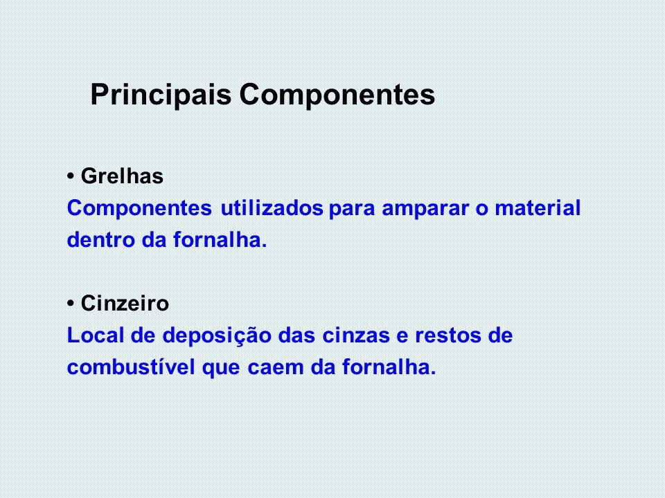 Principais Componentes Grelhas Componentes utilizados para amparar o material dentro da fornalha. Cinzeiro Local de deposição das cinzas e restos de c