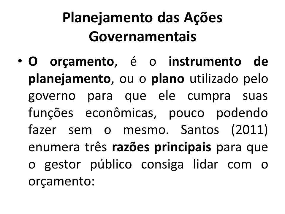 Planejamento das Ações Governamentais O orçamento, é o instrumento de planejamento, ou o plano utilizado pelo governo para que ele cumpra suas funções econômicas, pouco podendo fazer sem o mesmo.