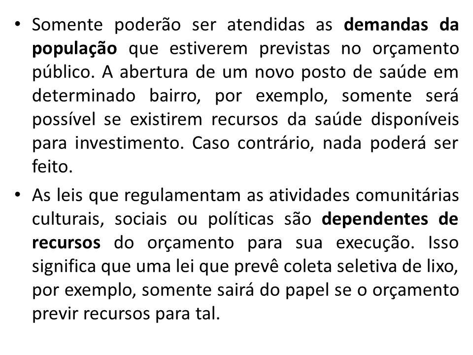 Somente poderão ser atendidas as demandas da população que estiverem previstas no orçamento público.