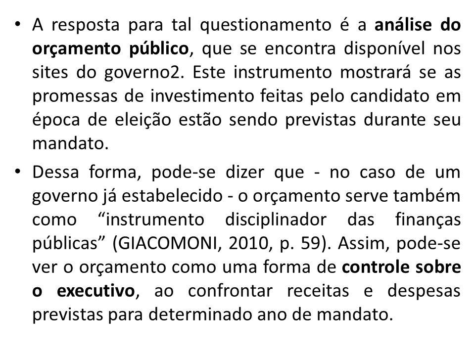 A resposta para tal questionamento é a análise do orçamento público, que se encontra disponível nos sites do governo2.