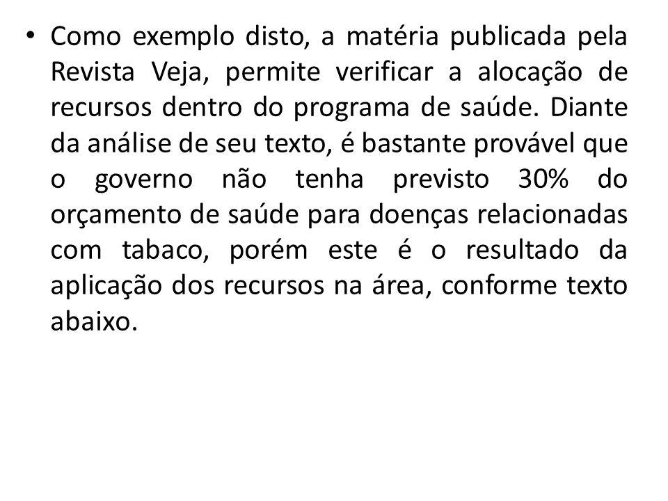 Como exemplo disto, a matéria publicada pela Revista Veja, permite verificar a alocação de recursos dentro do programa de saúde.