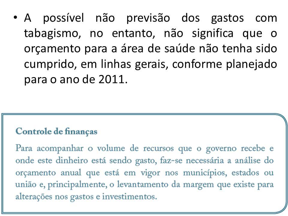 A possível não previsão dos gastos com tabagismo, no entanto, não significa que o orçamento para a área de saúde não tenha sido cumprido, em linhas gerais, conforme planejado para o ano de 2011.