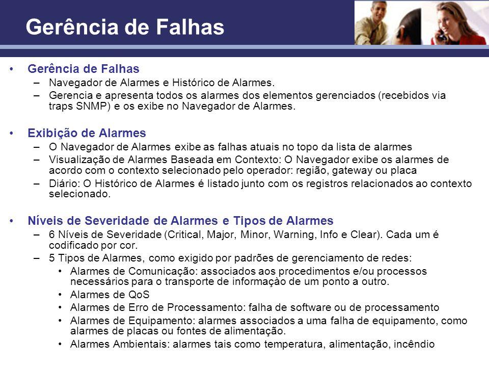 Confidencial Gerência de Falhas –Navegador de Alarmes e Histórico de Alarmes. –Gerencia e apresenta todos os alarmes dos elementos gerenciados (recebi