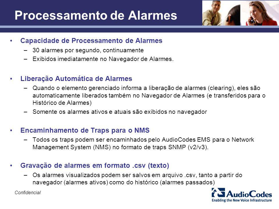 Capacidade de Processamento de Alarmes –30 alarmes por segundo, continuamente –Exibidos imediatamente no Navegador de Alarmes. Liberação Automática de