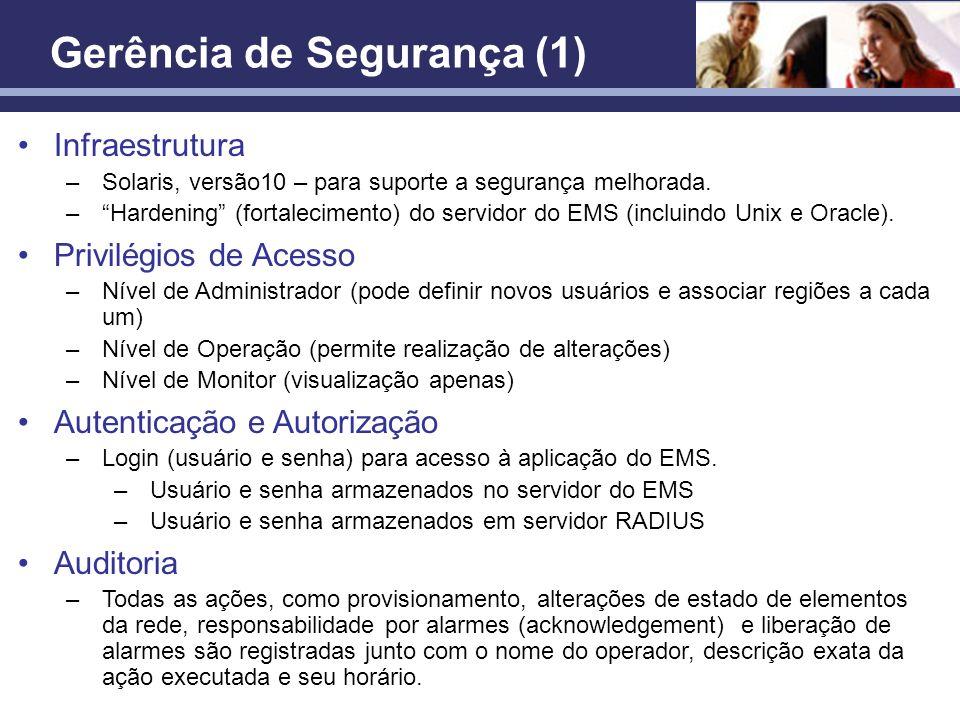 Confidencial Gerência de Segurança (1) Infraestrutura –Solaris, versão10 – para suporte a segurança melhorada. –Hardening (fortalecimento) do servidor