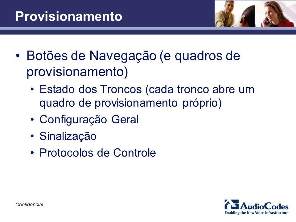 Confidencial Provisionamento Botões de Navegação (e quadros de provisionamento) Estado dos Troncos (cada tronco abre um quadro de provisionamento próp