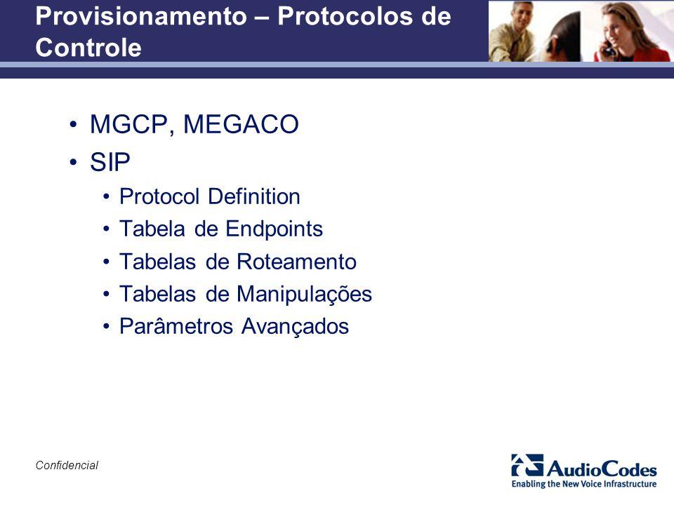 Confidencial Provisionamento – Protocolos de Controle MGCP, MEGACO SIP Protocol Definition Tabela de Endpoints Tabelas de Roteamento Tabelas de Manipu