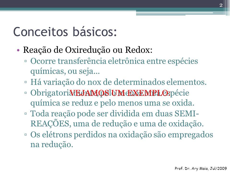Conceitos básicos: Reação de Oxiredução ou Redox: Ocorre transferência eletrônica entre espécies químicas, ou seja... Há variação do nox de determinad