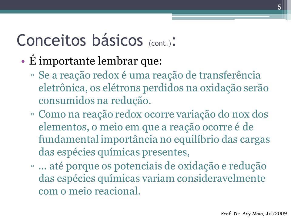 Conceitos básicos (cont.) : É importante lembrar que: Se a reação redox é uma reação de transferência eletrônica, os elétrons perdidos na oxidação ser