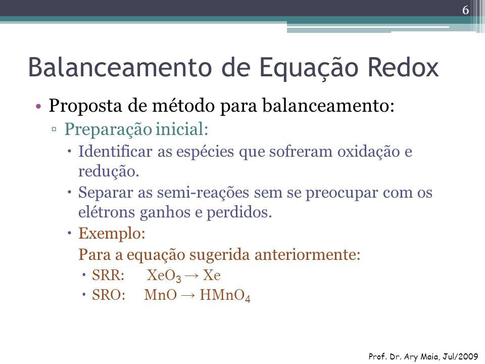 Balanceamento de Equação Redox Proposta de método para balanceamento: Preparação inicial: Identificar as espécies que sofreram oxidação e redução. Sep