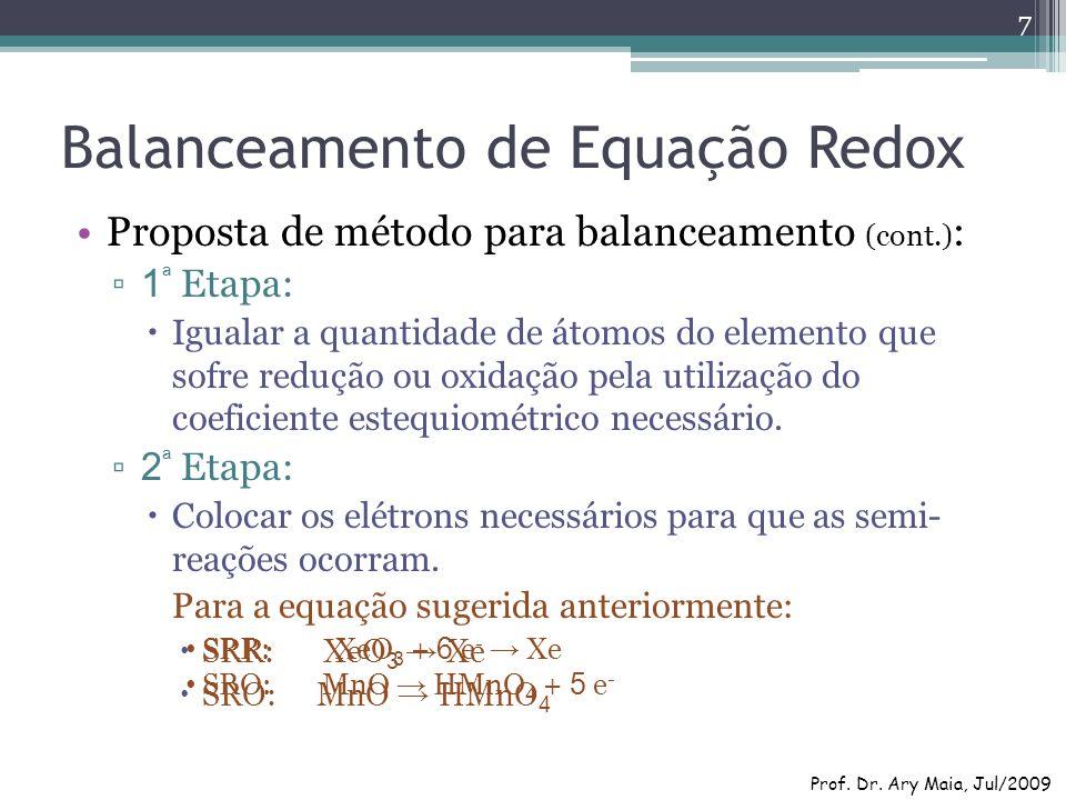 Balanceamento de Equação Redox Proposta de método para balanceamento (cont.) : 1 ª Etapa: Igualar a quantidade de átomos do elemento que sofre redução