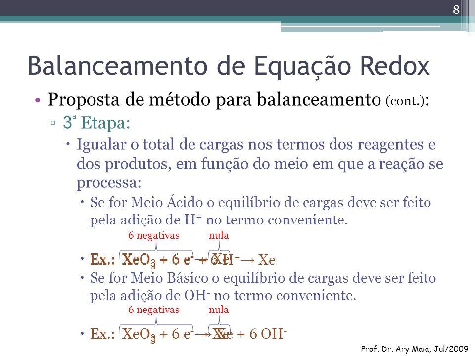 Balanceamento de Equação Redox Proposta de método para balanceamento (cont.) : 3 ª Etapa: Igualar o total de cargas nos termos dos reagentes e dos pro