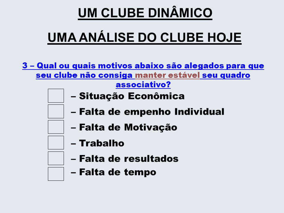 3 – Qual ou quais motivos abaixo são alegados para que seu clube não consiga manter estável seu quadro associativo? – Situação Econômica– Falta de emp