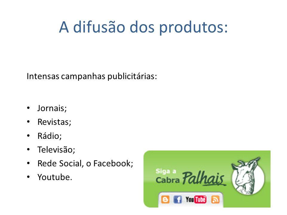A difusão dos produtos: Intensas campanhas publicitárias: Jornais; Revistas; Rádio; Televisão; Rede Social, o Facebook; Youtube.